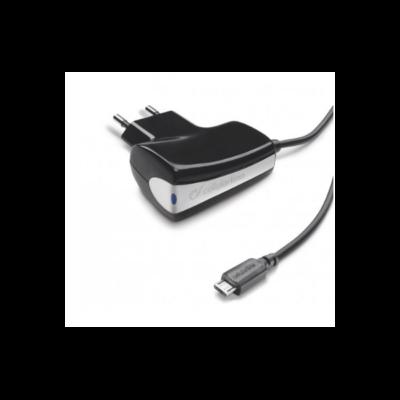 Cellularline microUSB Hálózati töltő, fekete, 1A, kábelhossz: 1,6 M