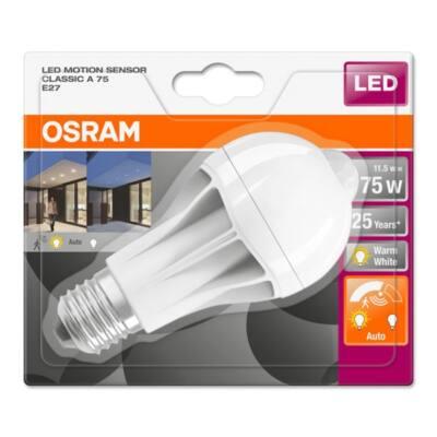 Osram Star+ 11,5 W/827 75 E27 1060 lumen mozgásérzékelős matt LED körte izzó