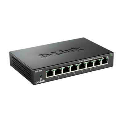 D-Link Switch - DES-108 - 8x100Mbps Desktop Fémházas Fanless Unmanaged