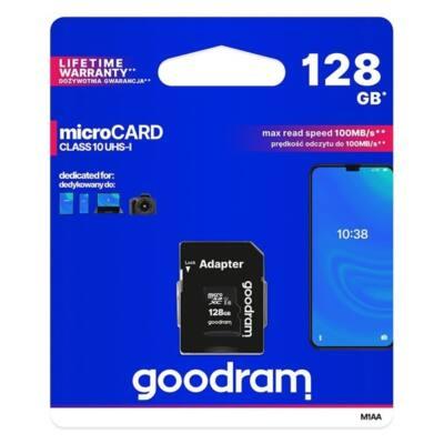 GOODRAM Memóriakártya MicroSDXC 128GB CL10 UHS-I + adapter