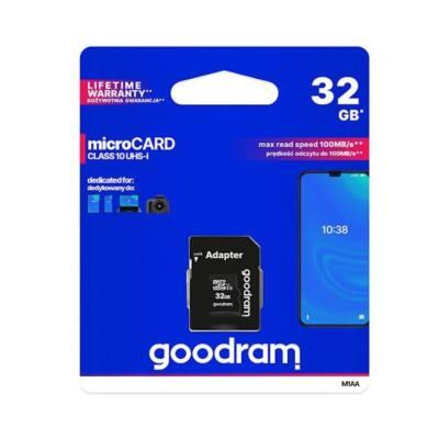 GOODRAM Memóriakártya MicroSDHC 32GB CL10 UHS-I + adapter