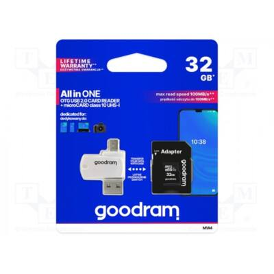 GOODRAM Memóriakártya SDHC 32GB CL10 UHS-I + adapter + OTG kártyaolvasó