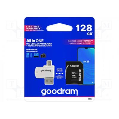 GOODRAM Memóriakártya SDXC 128GB CL10 UHS-I + adapter + OTG kártyaolvasó