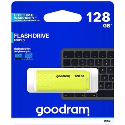 GOODRAM Pendrive 128GB, UME2 USB 2.0, Sárga