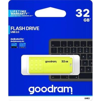 GOODRAM Pendrive 32GB, UME2 USB 2.0, Sárga