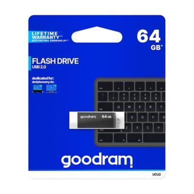 GOODRAM Pendrive 64GB, UCU2 USB 2.0, Fekete