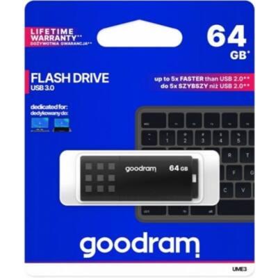 GOODRAM Pendrive 64GB, UME3 USB 3.0, Fekete