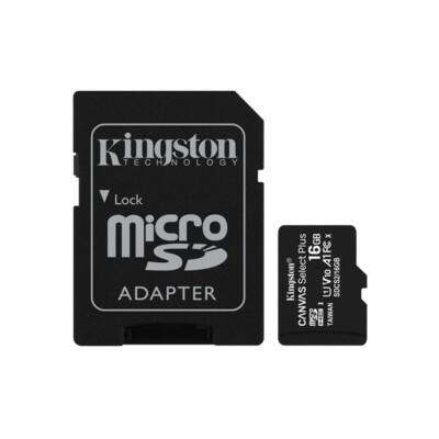 KINGSTON Memóriakártya MicroSDHC 16GB Canvas Select Plus 100R A1 C10 + Adapter