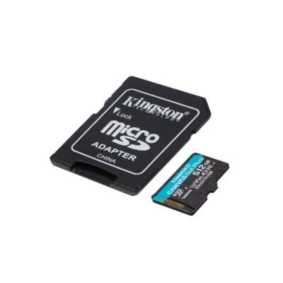KINGSTON Memóriakártya MicroSDXC 512GB Canvas Go Plus 170R A2 U3 V30 + Adapter