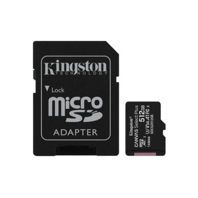 KINGSTON Memóriakártya MicroSDXC 512GB Canvas Select Plus 100R A1 C10 + Adapter