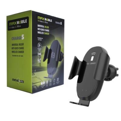 MAX MOBILE Autós Tartó Charge2 szellőzőrácsra, vezeték nélküli töltés, QuickCharge 3.0