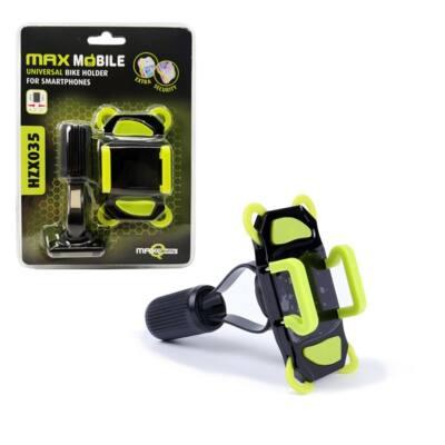 """MAX MOBILE Kerékpáros Mobiltelefon Tartó HZX-035, 4,3-6,3""""-ig, fekete-zöld"""