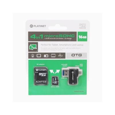 PLATINET 4in1 microSD 16Gb + kártyaolvasó + OTG + adapter