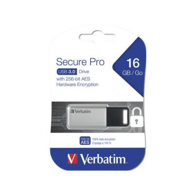 "VERBATIM Pendrive, 16GB, USB 3.0, 100/20MB/sec, PC & MAC, GDPR, ""SECURE DATA PRO"", szürke"