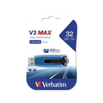 "VERBATIM Pendrive, 32GB, USB 3.0, 175/80 MB/sec, ""V3 MAX"", kék-fekete"