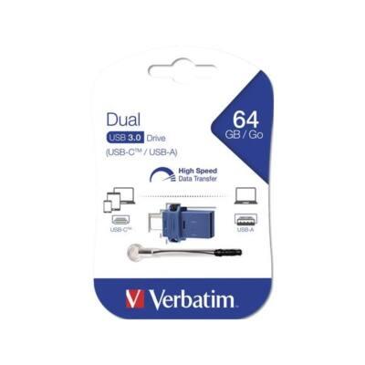 "VERBATIM Pendrive, 64GB, USB 3.0+USB-C adapter,  ""DUAL"""