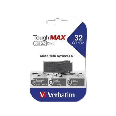"VERBATIM Pendrive, extra ellenálló, 32GB, USB 2.0, ""ToughMAX"", fekete"